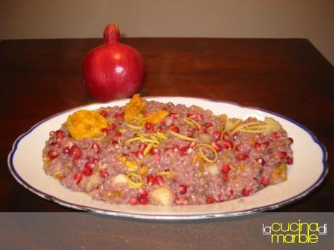 risotto rosa frutta e formaggio