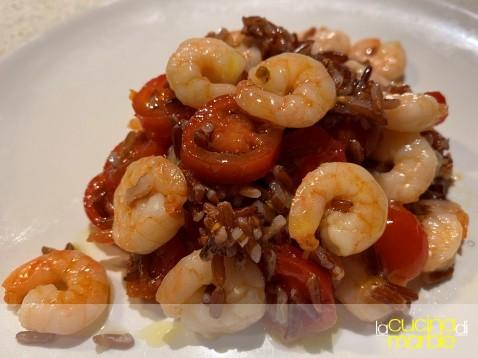 riso rosso pomodorini e mazzancolle