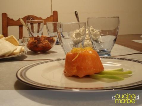 sformatini salmone, mela e panna acida